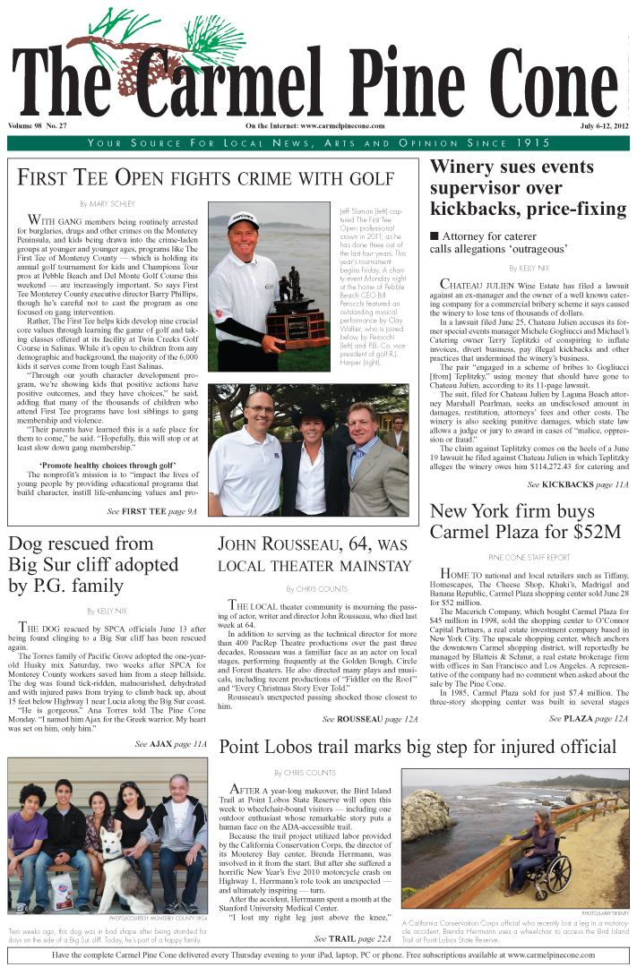 The July 6, 2012,                 front page of The Carmel Pine Cone