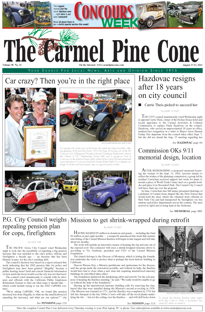 The August 17, 2012,                 front page of The Carmel Pine Cone