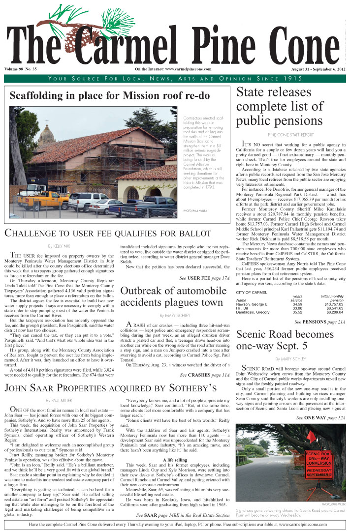 The August 31, 2012,                 front page of The Carmel Pine Cone