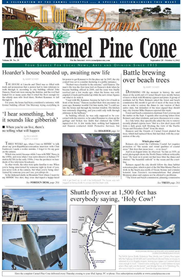 The September 28,                 2012, front page of The Carmel Pine Cone