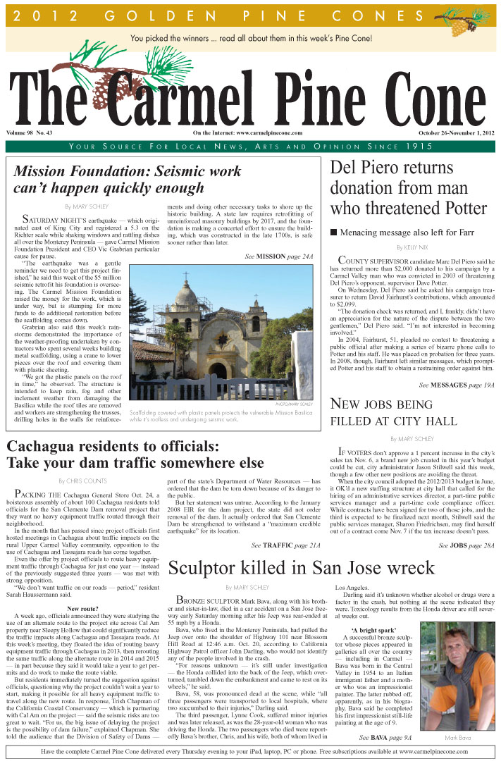 The October 26, 2012,                 front page of The Carmel Pine Cone