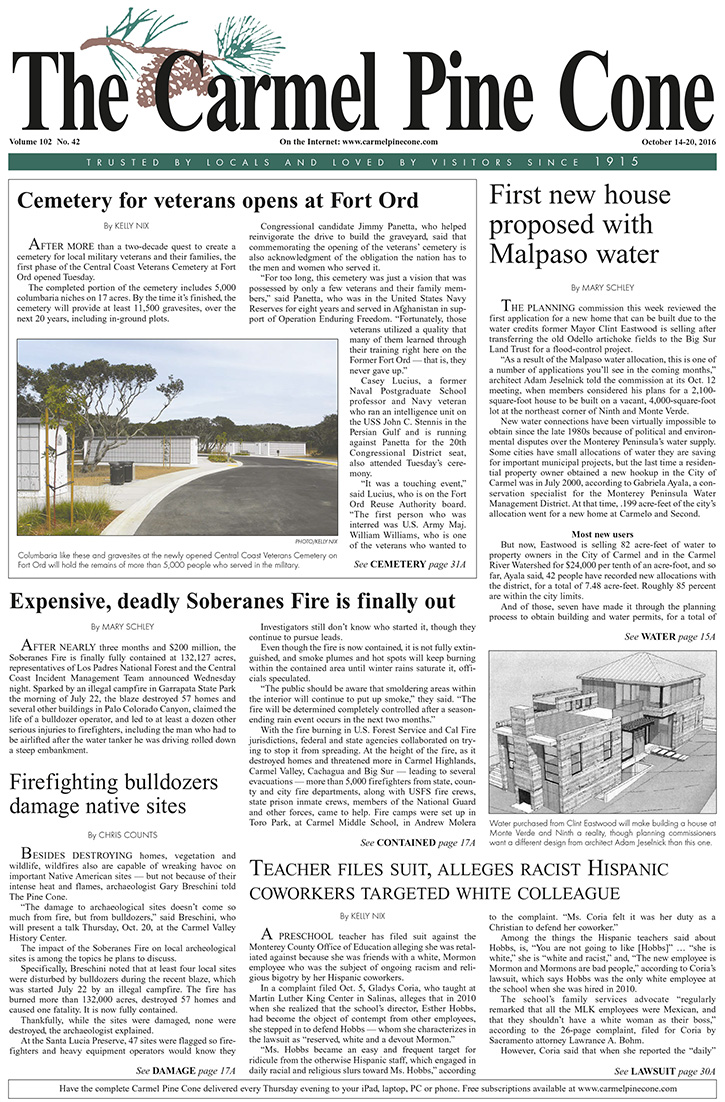 The                 October 14, 2016, front page of The Carmel Pine Cone