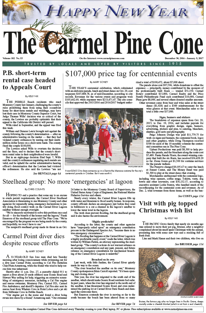 The                 December 30, 2016, front page of The Carmel Pine Cone