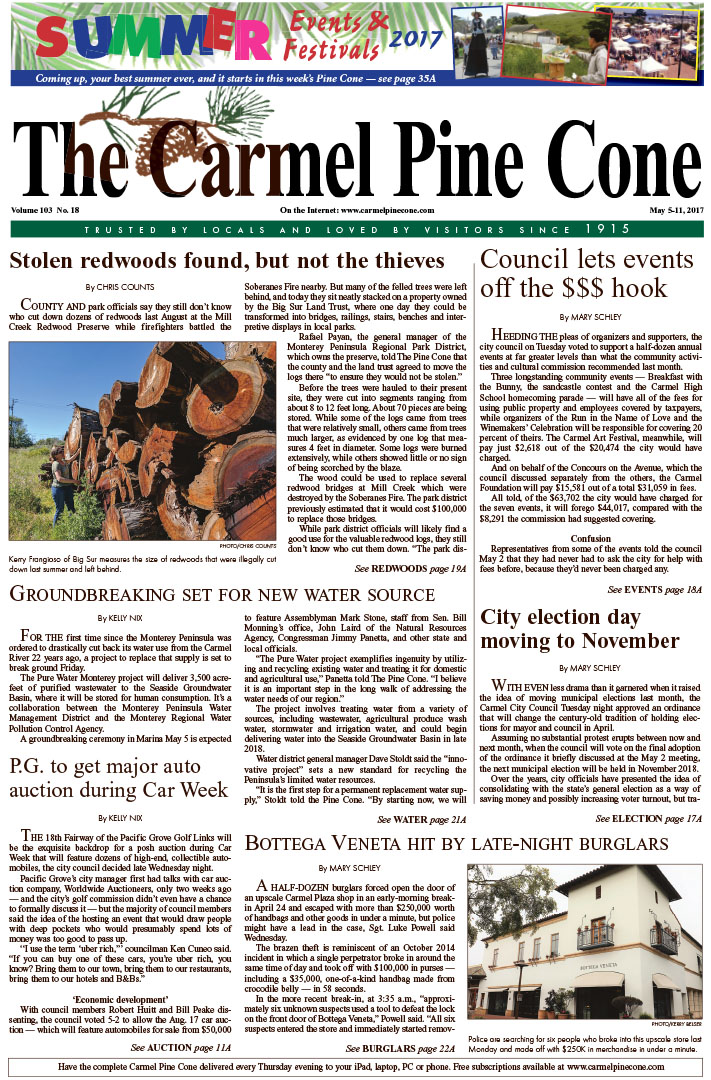 The May                 5, 2017, front page of The Carmel Pine Cone