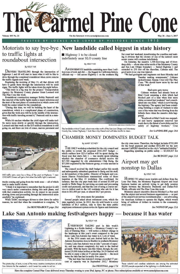 The May                 26, 2017, front page of The Carmel Pine Cone