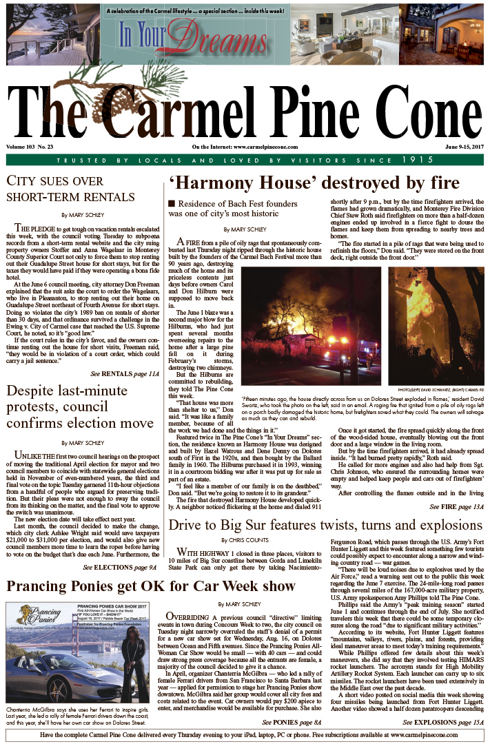 The June                 9, 2017, front page of The Carmel Pine Cone