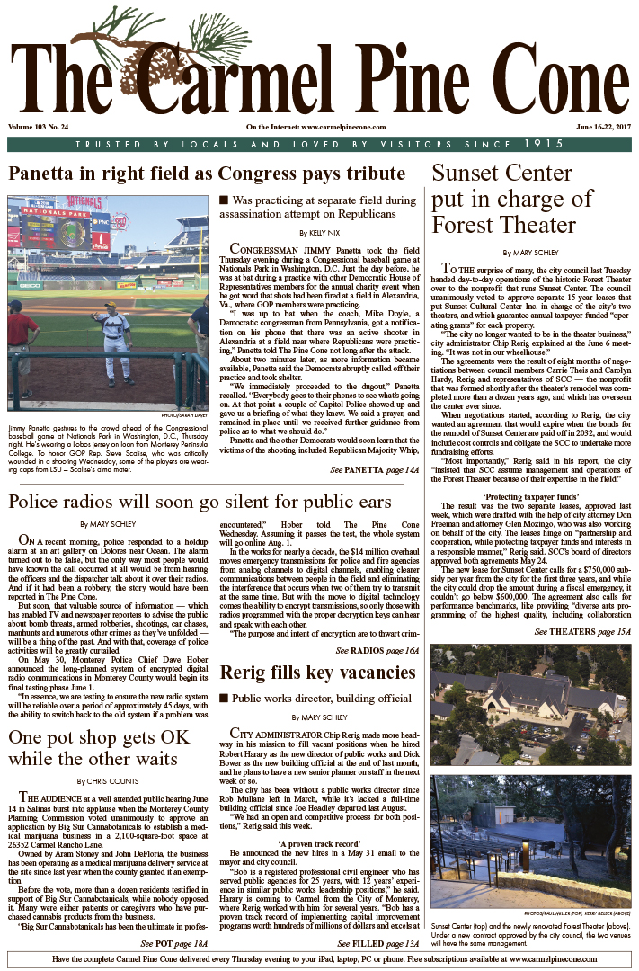 The June                 16, 2017, front page of The Carmel Pine Cone