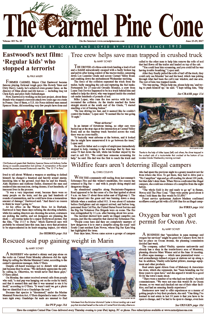 The June                 23, 2017, front page of The Carmel Pine Cone