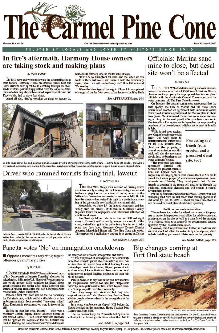 The June                 30, 2017, front page of The Carmel Pine Cone