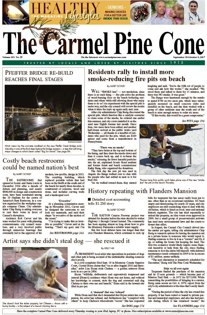 The                 September 22, 2017, front page of The Carmel Pine Cone