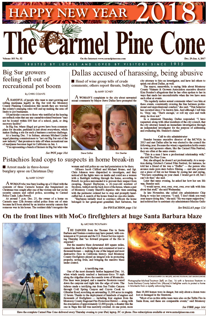 The                 December 29, 2017, front page of The Carmel Pine Cone