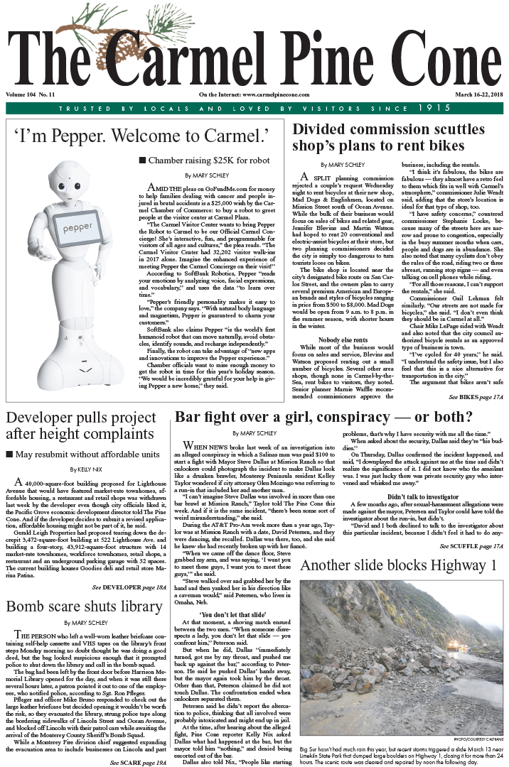 The March                 16, 2018, front page of The Carmel Pine Cone