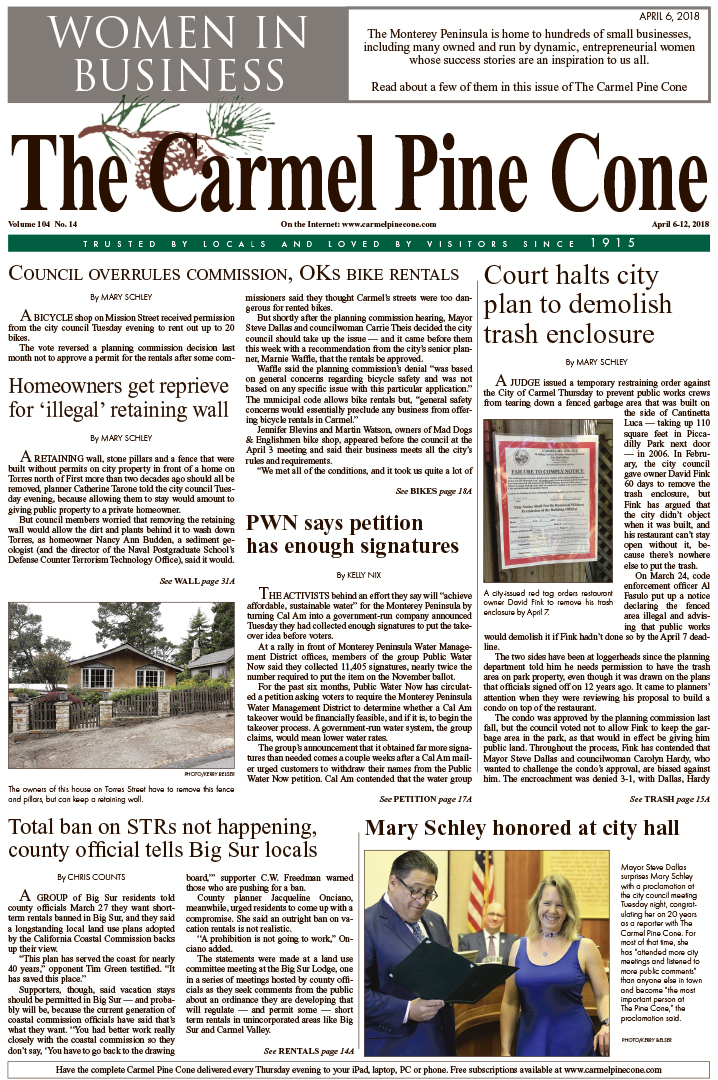 The March                 30, 2018, front page of The Carmel Pine Cone