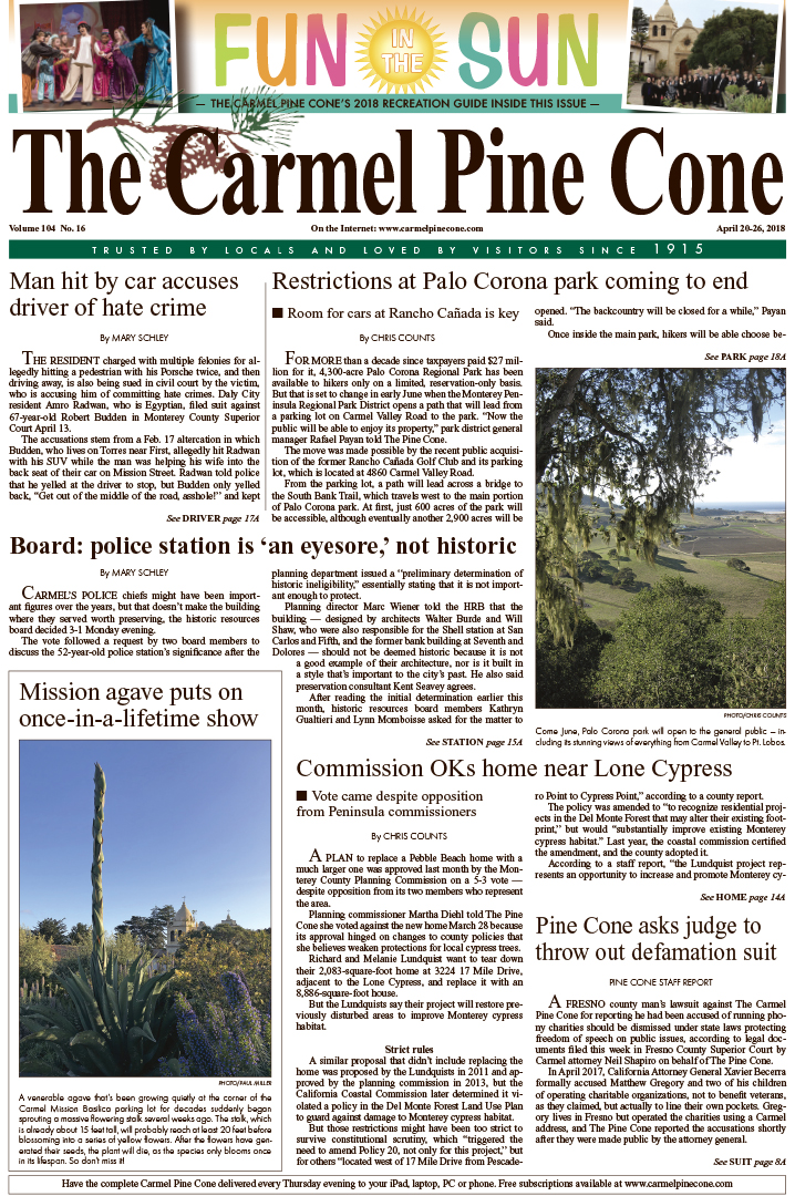 The April                 20, 2018, front page of The Carmel Pine Cone