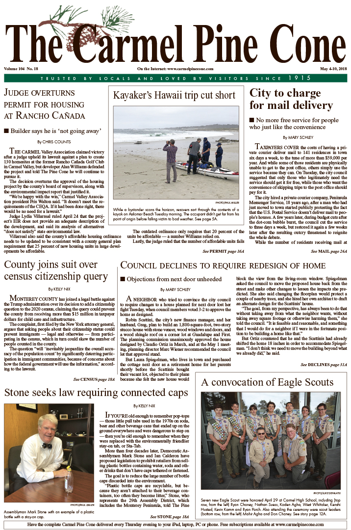 The April                 27, 2018, front page of The Carmel Pine Cone