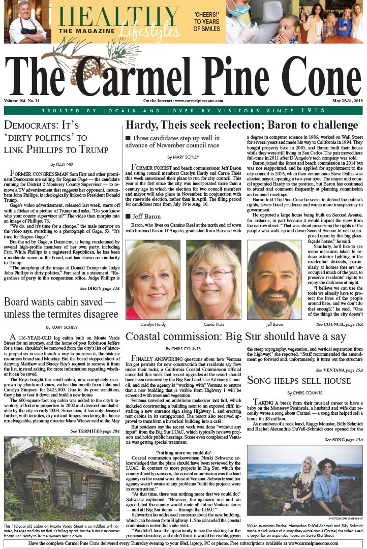 The May                 25, 2018, front page of The Carmel Pine Cone