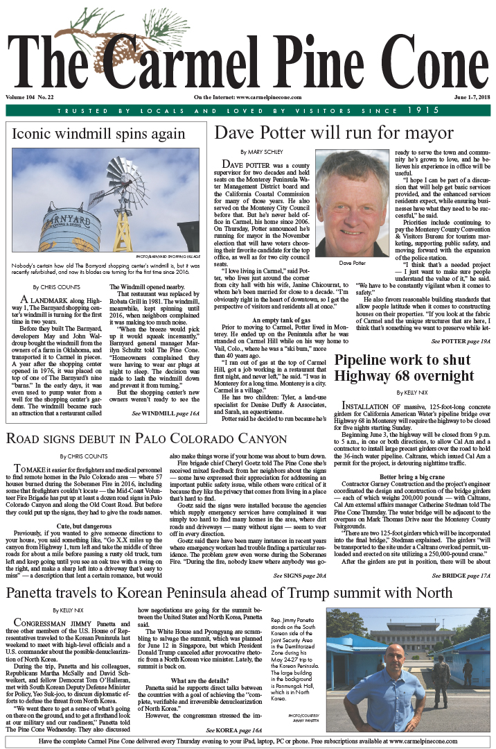 The June                 1, 2018, front page of The Carmel Pine Cone