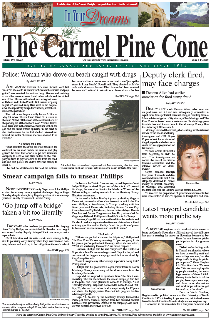 The June                 8, 2018, front page of The Carmel Pine Cone