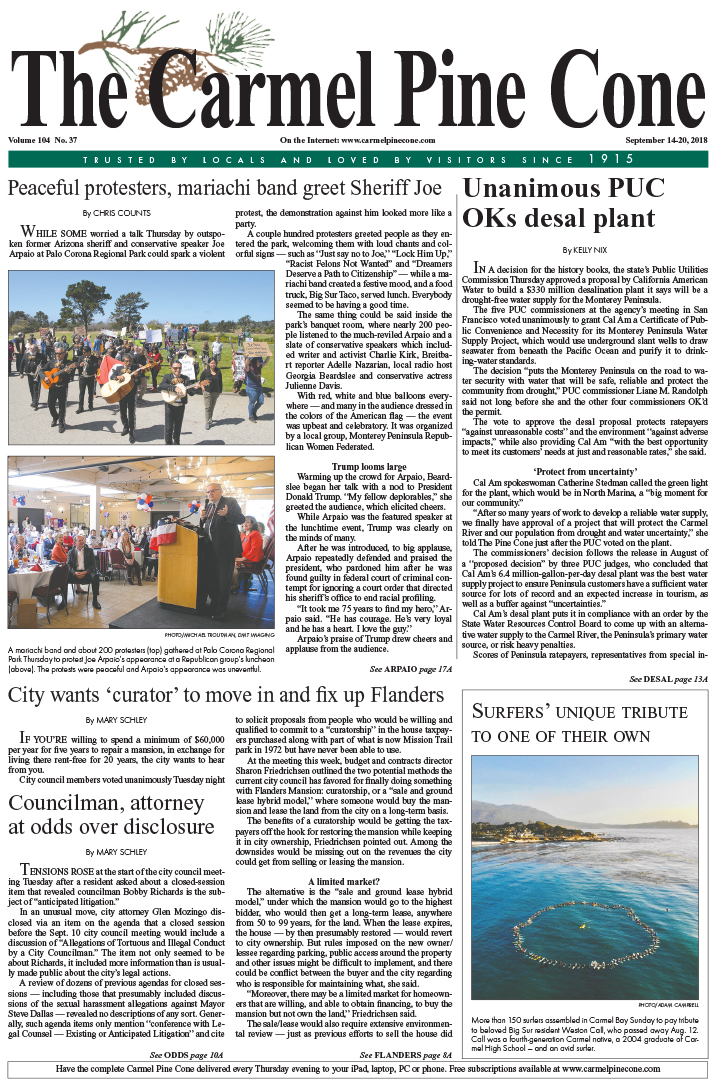 The                 September 14, 2018, front page of The Carmel Pine Cone