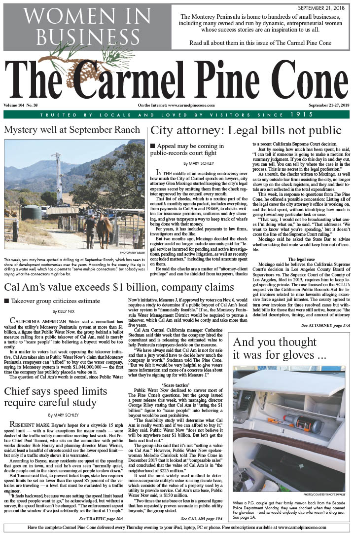 a660be577990 The September 21, 2018, front page of The Carmel Pine Cone