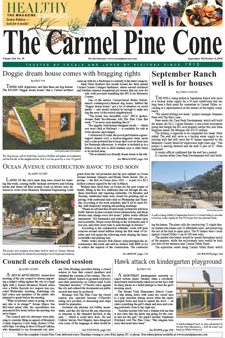 The                 September 21, 2018, front page of The Carmel Pine Cone