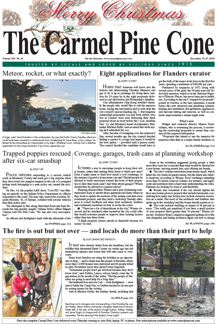 The                 December 21, 2018, front page of The Carmel Pine Cone