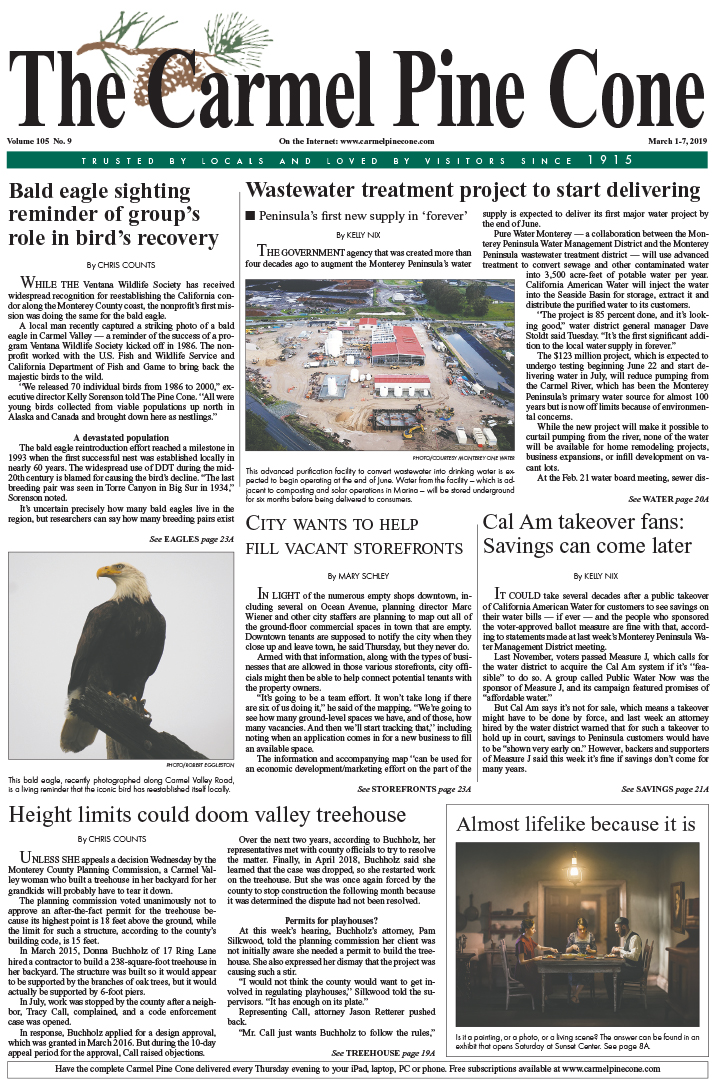 The March                 1, 2019, front page of The Carmel Pine Cone