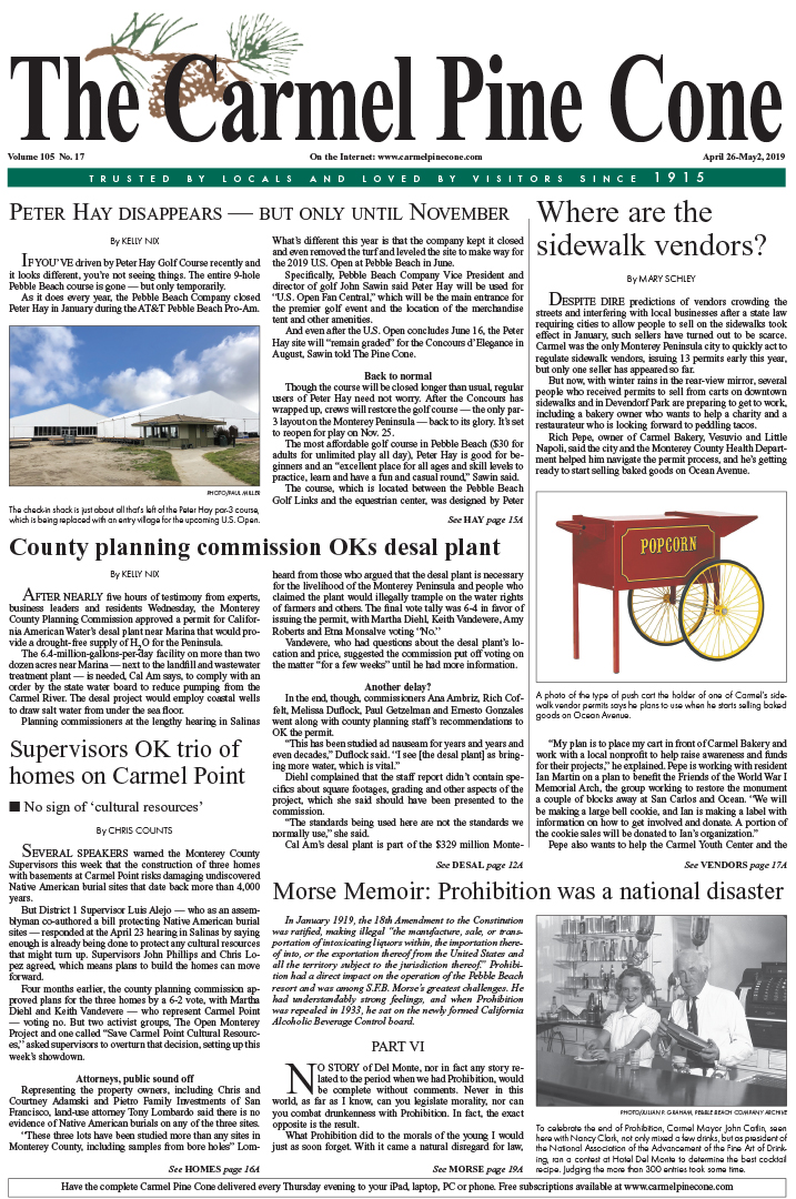 aa69424e959b The April 26, 2019, front page of The Carmel Pine Cone