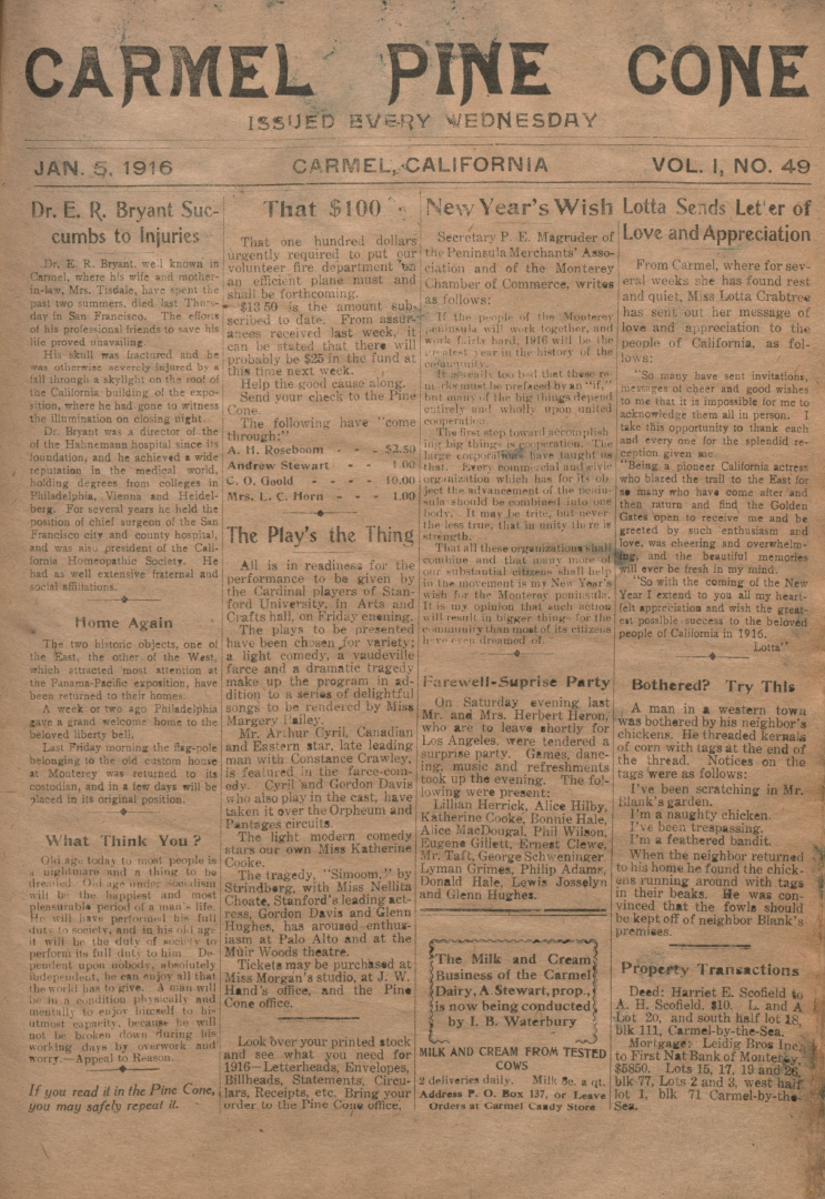 front page of the                 January 5, 1916, Carmel Pine Cone
