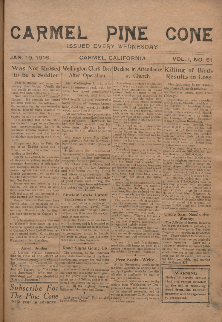 front page of the                 January 19, 1916, Carmel Pine Cone