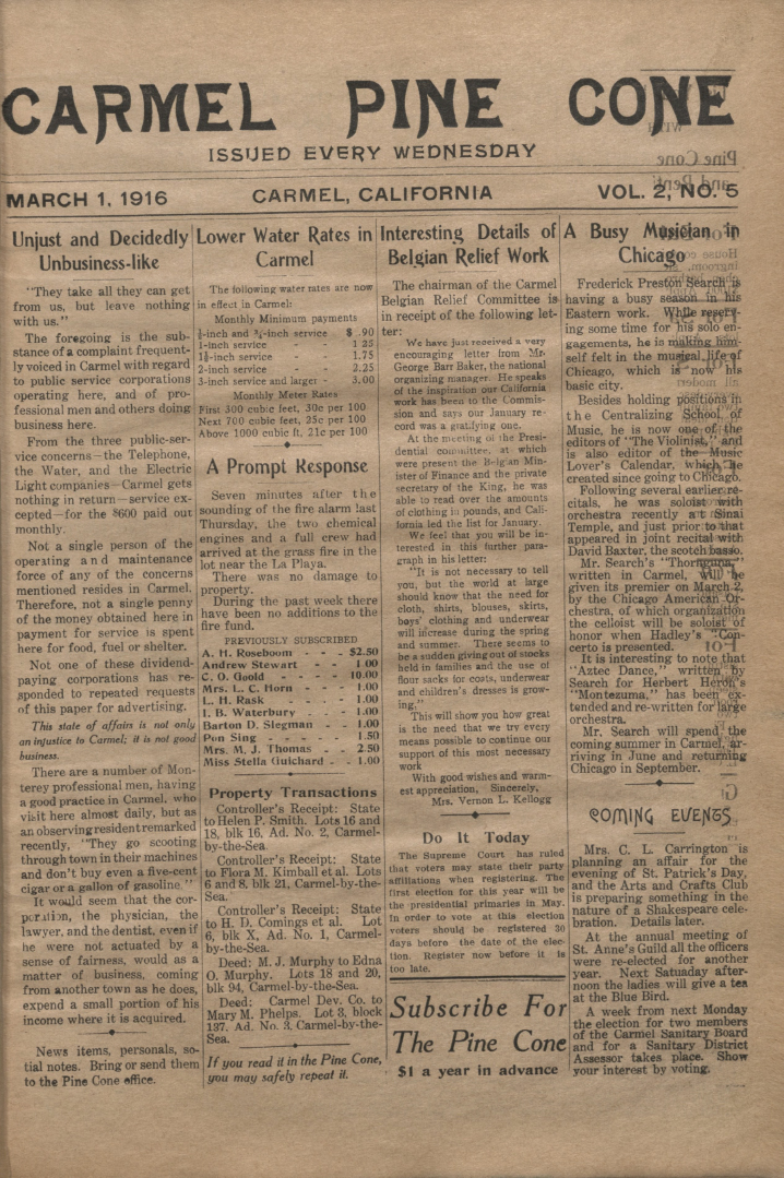 front page of the                 March 1, 1916, Carmel Pine Cone