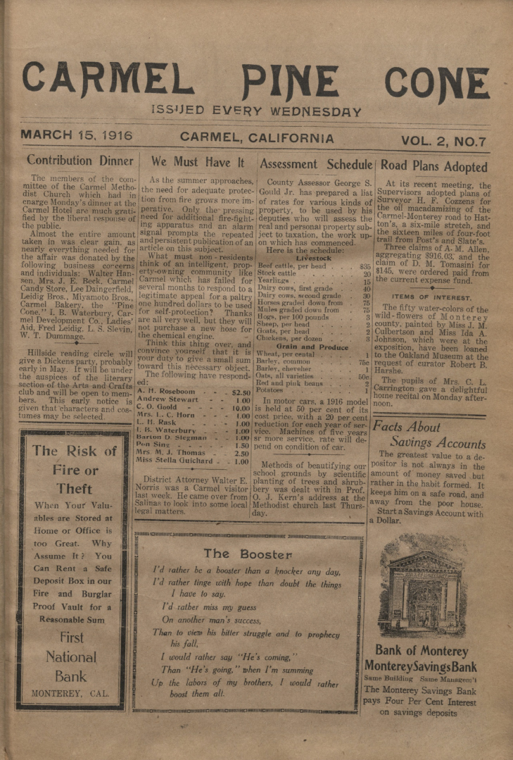 front page of the                 March 15, 1916, Carmel Pine Cone