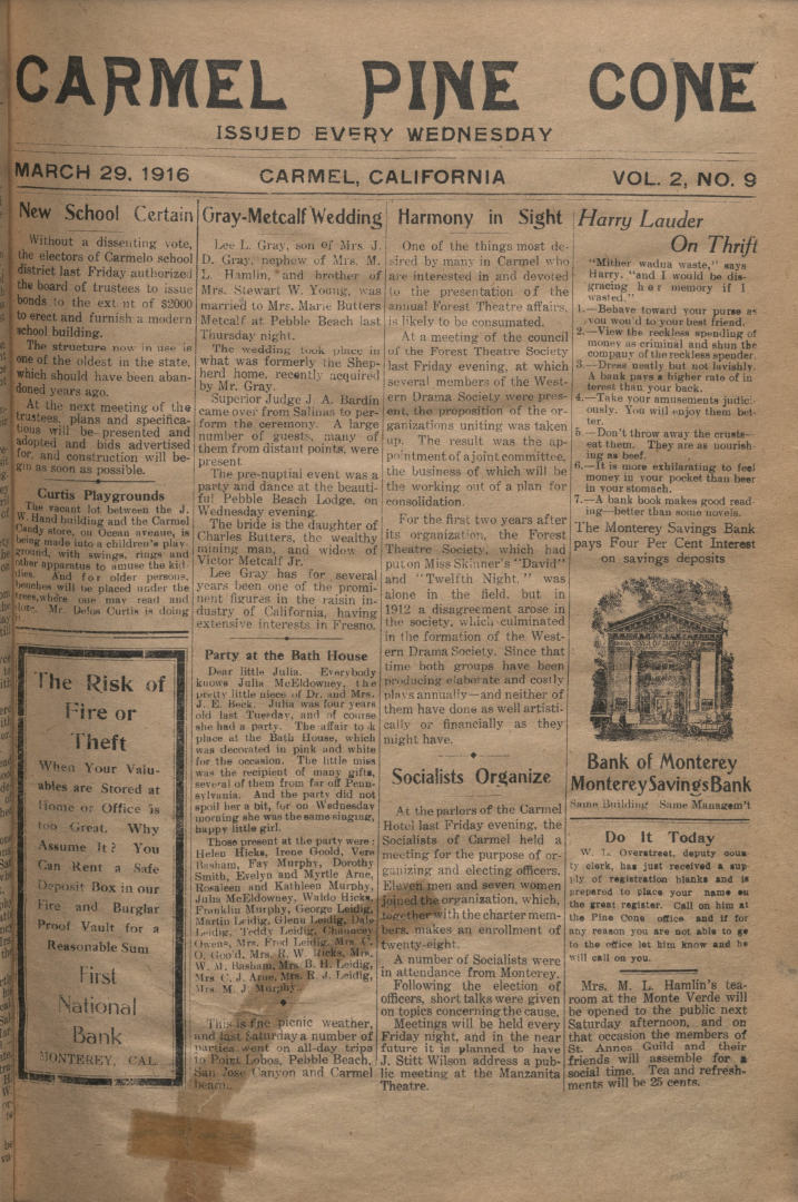 front page of the                 March 29, 1916, Carmel Pine Cone