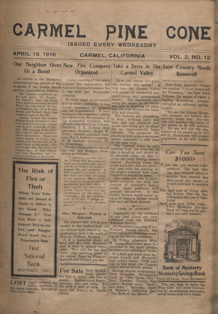 front page of the                 April 19, 1916, Carmel Pine Cone