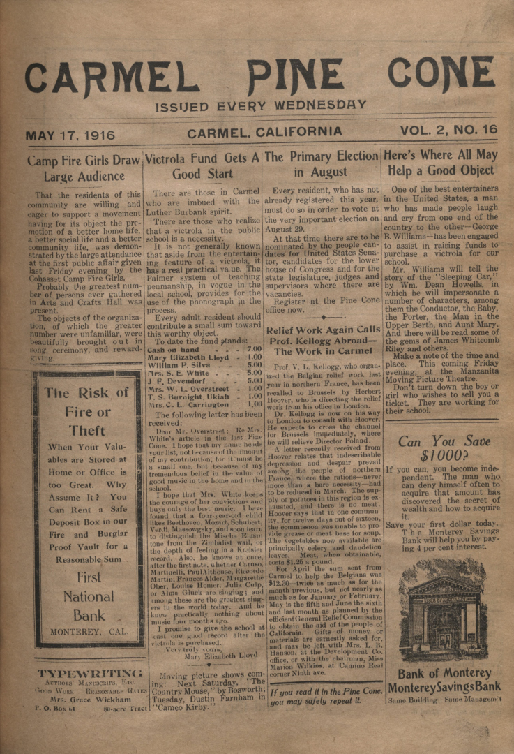 front page of the May                 17, 1916, Carmel Pine Cone