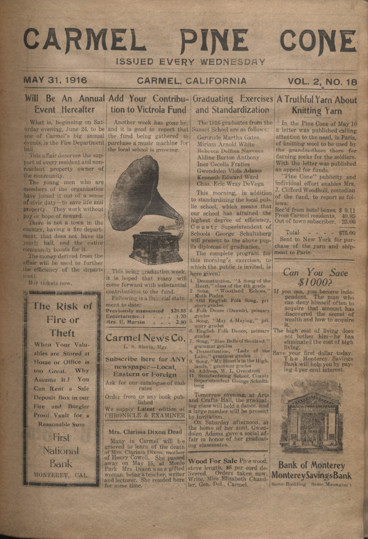 front page of the May                 31, 1916, Carmel Pine Cone