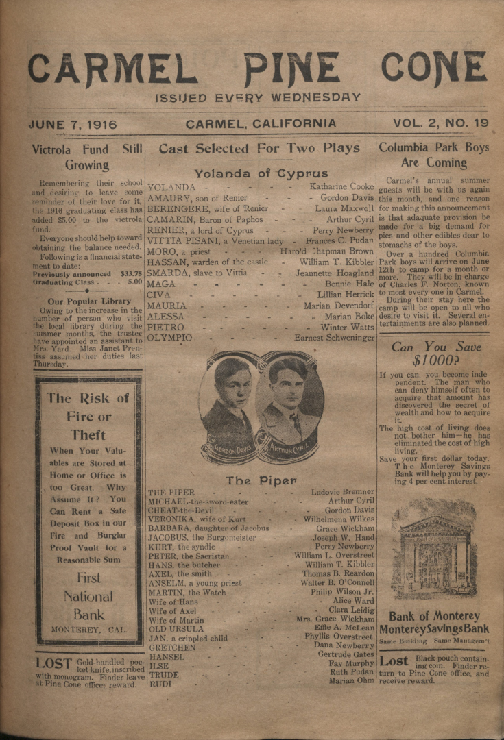 Front page of the                 June 7, 1916, Carmel Pine Cone