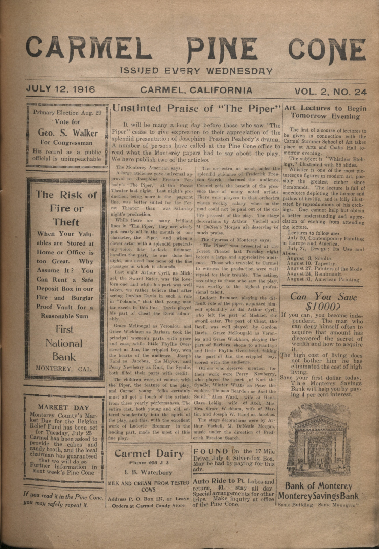 front page of the                 July 12, 1916, Carmel Pine Cone