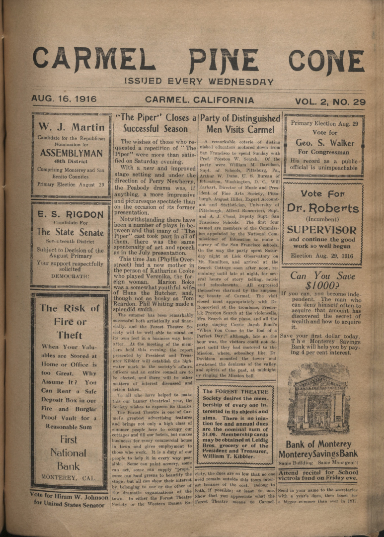 front page of the                 August 16, 1916, Carmel Pine Cone