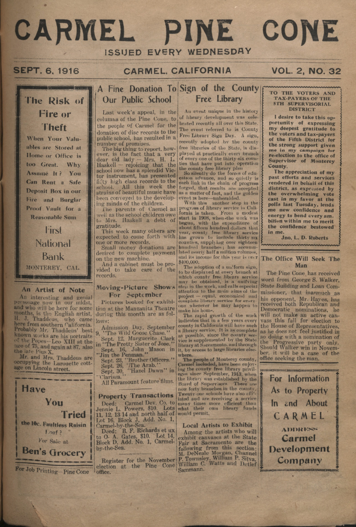Front page of the                 September 6, 1916, Carmel Pine Cone