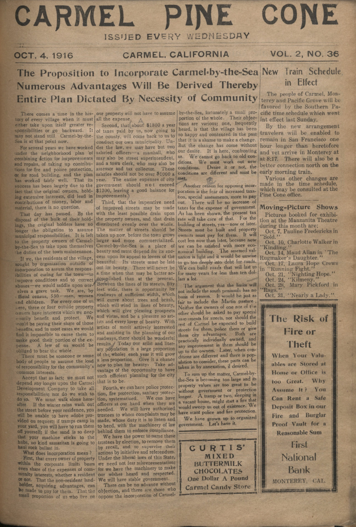 front page of the                 October 4, 1916, Carmel Pine Cone