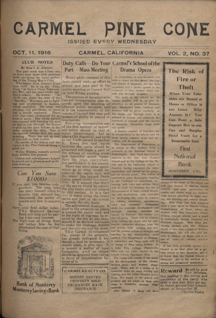 front page of the                 October 11, 1916, Carmel Pine Cone