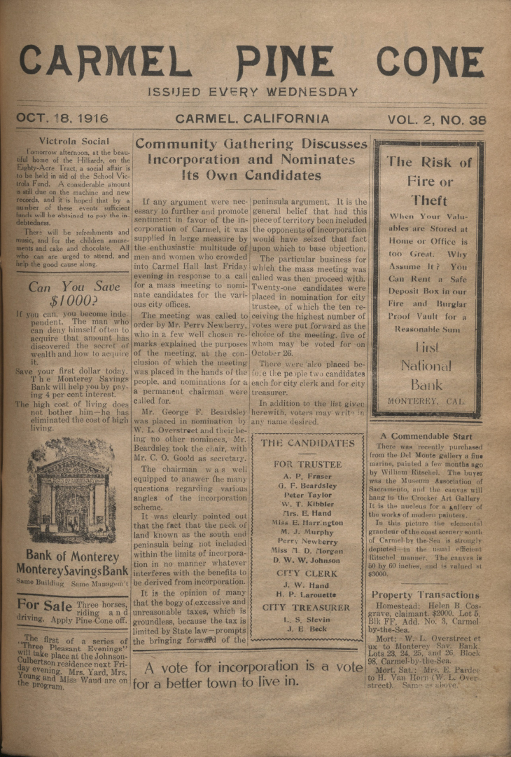 front page of the                 October 18, 1916, Carmel Pine Cone