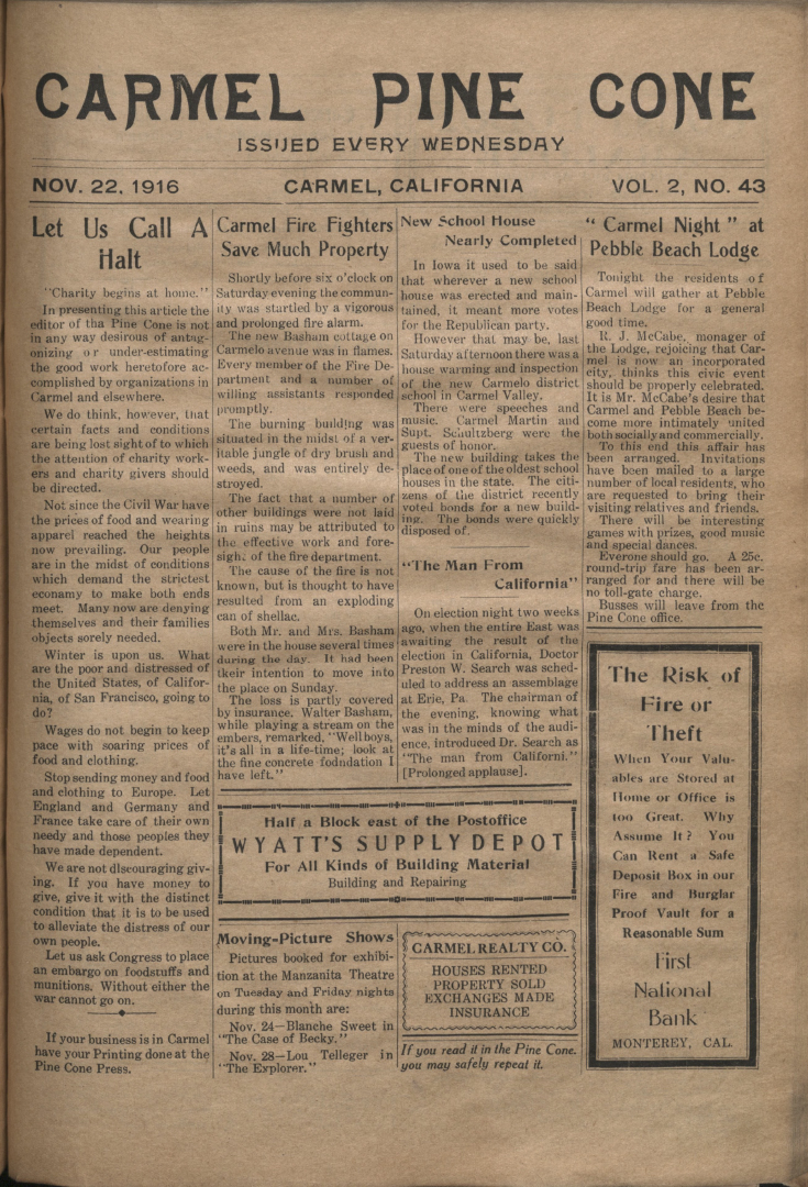 front page of the                 November 22, 1916, Carmel Pine Cone