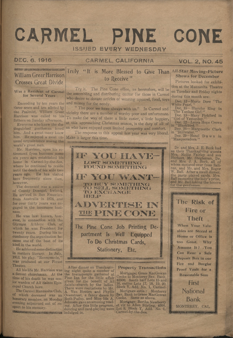 Front page of the                 December 6, 1916, Carmel Pine Cone