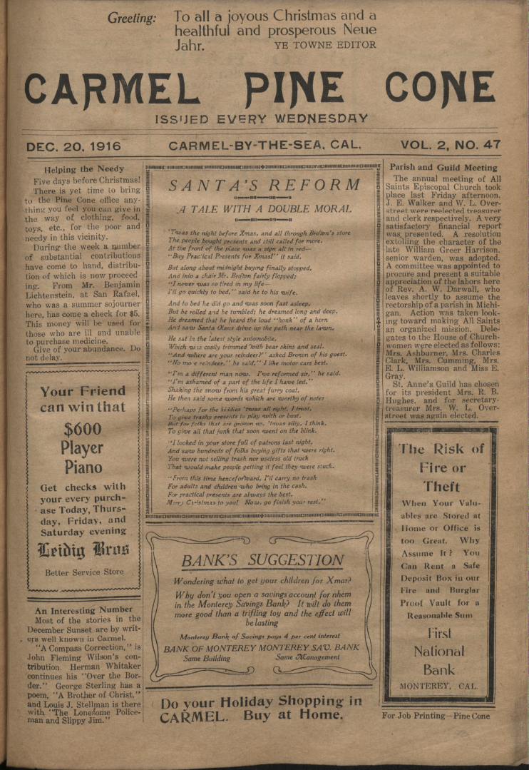 Front page of the                 December 20, 1916, Carmel Pine Cone
