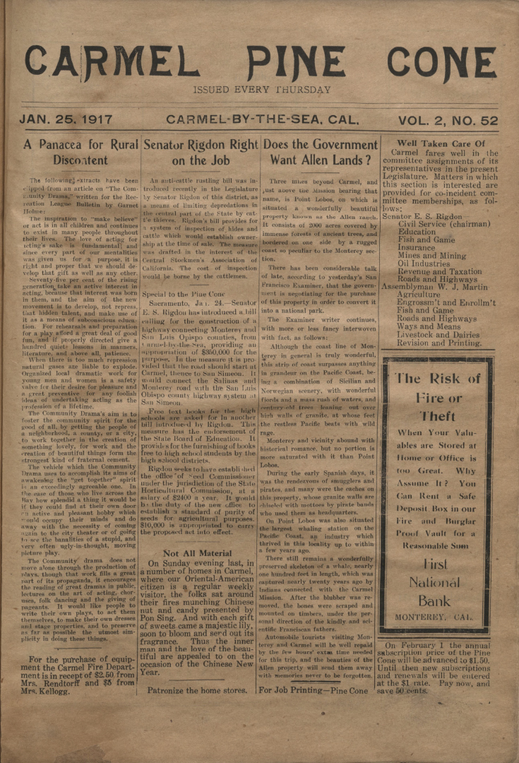 front page of the                 January 25, 1917, Carmel Pine Cone