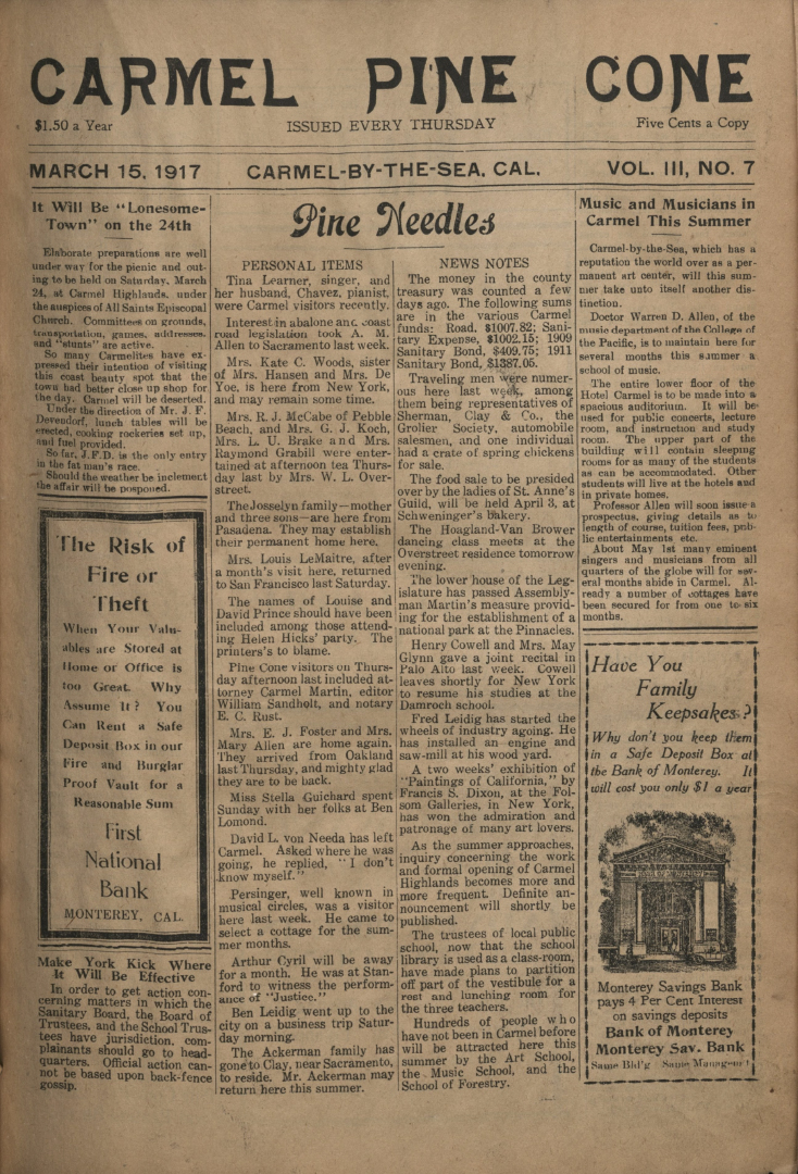 front page of the                 March 15, 1917, Carmel Pine Cone