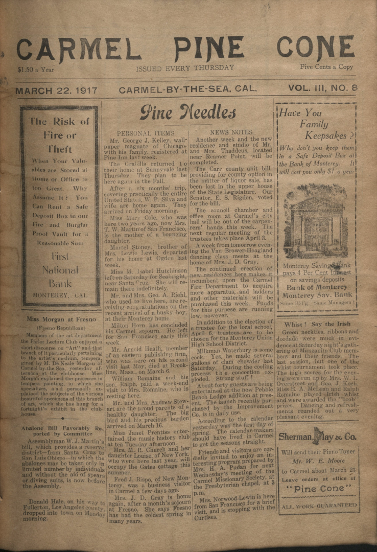 front page of the                 March 22, 1917, Carmel Pine Cone