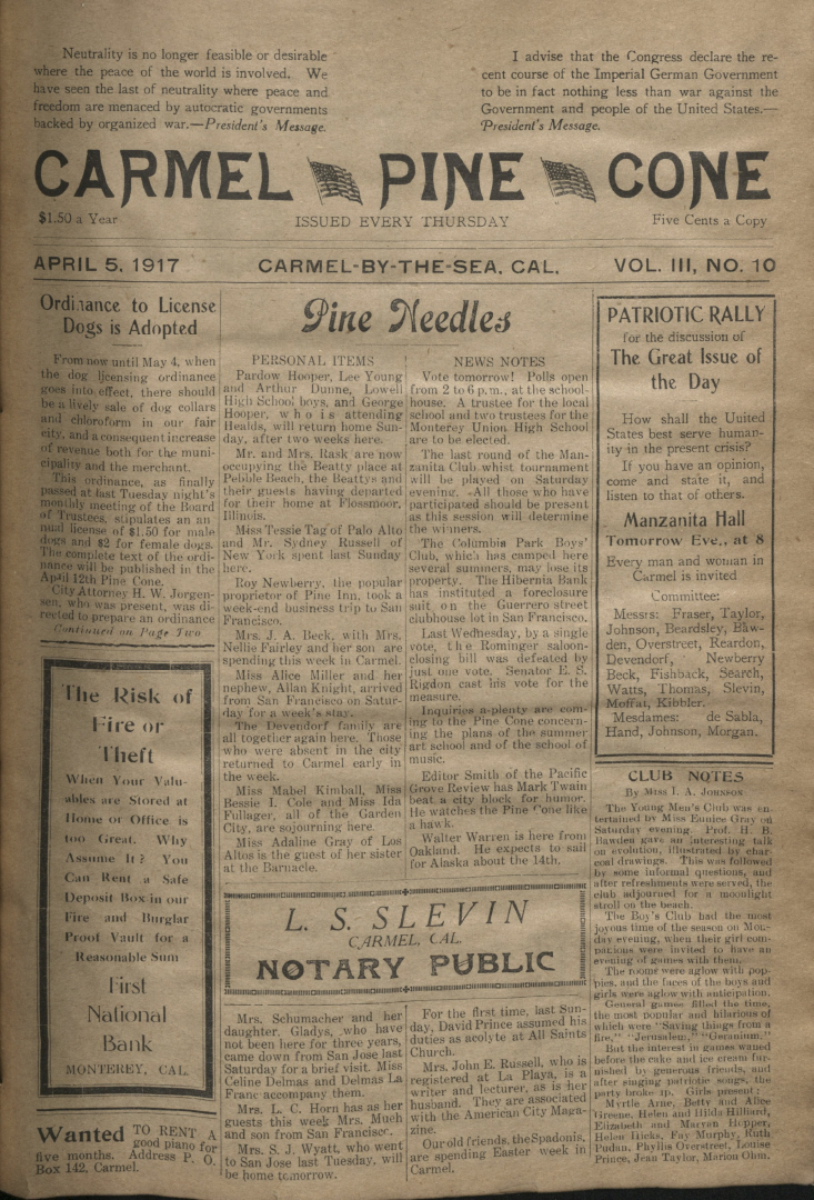 front page of the                 April 5, 1917, Carmel Pine Cone